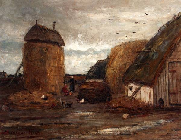 A Farmyard With Peasantwomen Feeding Chickens